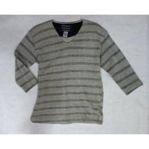 V Neck Gray Black Striped Sweater 3/4 Sleeve Shirt